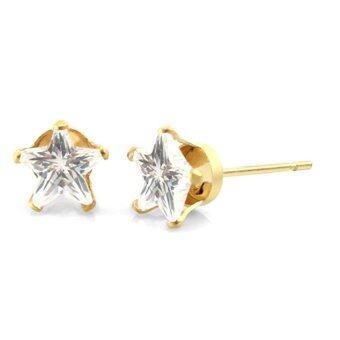 555jewelry ต่างหูก้านเสียบประดับด้วย CZ รูปดาวสีขาว รุ่น MNC-ER452-B - สีYellow Gold