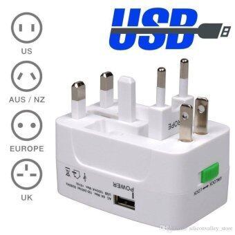 ปลั๊กไฟDual USB Universal Adapter All in Oneรุ่นSquare พร้อมUSBเสียบชาร์ตแบตมือถือ/ไอแพด ใช้ได้ทั่วโลกUS/UK/EU/AUรองรับกระแสไฟฟ้า100-250โวลต์-สีขาว