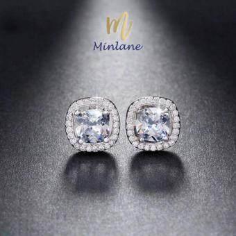 Minlane Jewelry Round Queen Luxury Fashion 2017 New Style Women Earrings AAA Genuine Austria Crystal CZ Diamond Stud Earrings ต่างหู เพชร เม็ดเหลี่ยม ล้อมด้วย คริสตัส MJ 012