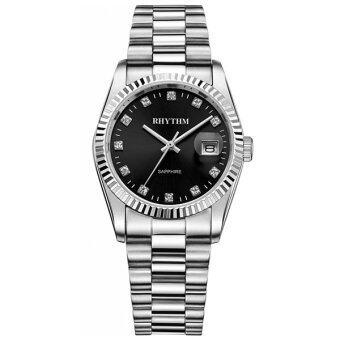 RHYTHM (รึทึ่ม) นาฬิกาข้อมือผู้ชาย สแตนเลส รุ่น R1202S02 (Black)