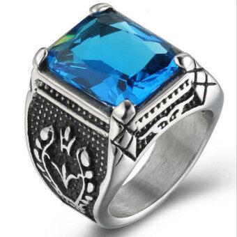 แหวนคริสตัลคลาสสิคสุขาสเตนเลสแบบกอธิคสีน้ำเงินเงิน