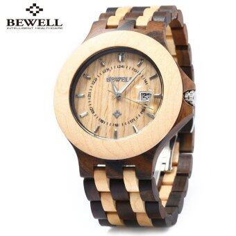 Harga Bewell ZS - 080A Wooden Quartz Men Watch Date Luminous Waterproof - intl