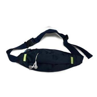 Lotte กระเป๋าแนบตัว ผ้าลาย samsonite พร้อมช่องลอดหูฟัง สายชาร์จ - สีน้ำเงิน