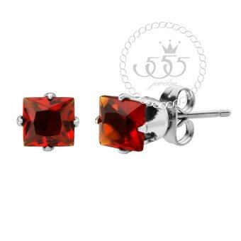555jewelry ต่างหู สแตนเลสสตีล - ต่างหูก้านเสียบ CZ สีเหลี่ยมสวยงาม (สี - สตีล/CZ แดง) รุ่น MNC-ER446-A2