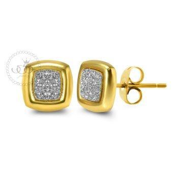 555jewelry เครื่องประดับ ต่างหูสตั๊ด สแตนเลสสตีล ก้านเสียบดีไซน์Cushionขอบเรียบแต่งผิวทราย สีทอง รุ่น MNC-ER334-B
