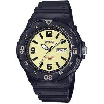 CASIO Standard นาฬิกาข้อมือผู้ชาย สีครีม/ดำ สายเรซิน รุ่น MRW-200H-5BVDF