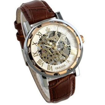 โครงสแตนเลสสายหนังของคนลักนาฬิกาข้อมือกลกุหลาบทอง