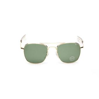 แว่นกันแดดผู้ชายแว่นตากันแดดสี่เหลี่ยมสีเขียวทองยี่ห้อการออกแบบ