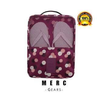 Merc Gears Travel bag กระเป๋ารองเท้า กระเป๋าใส่รองเท้า จัดระเบียบกระเป๋าเดินทาง wine red flowers