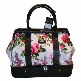 Roma polo กระเป๋าเสื้อผ้าแฟชั่นทรงกอล์ฟ รุ่นK282size 18 นิ้ว -สีขาวดอกชมพู