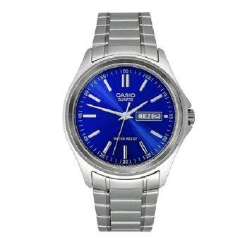 Casio นาฬิกาข้อมือผู้ชาย รุ่น MTP-1239D-2ADF (Silver/Dark blue)
