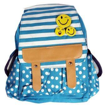 กระเป๋านักเรียน กระเป๋าเด็กอนุบาล ประดับเข็มกลัด (สีฟ้า)