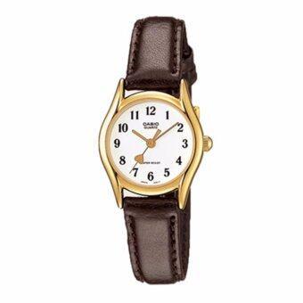Casio Standard นาฬิกาข้อมือผู้หญิง สายหนังสีดำ รุ่น LTP-1094Q-7B5RDF (สีขาว)