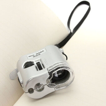 ช่างเสียงแตร 60 x ส่องแว่นขยายกล้องจุลทรรศน์เลนส์แก้วด้วยยูวีหลอด led