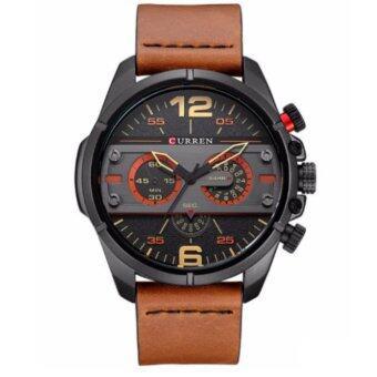 Curren นาฬิกาข้อมือผู้ชาย สายหนังสีน้ำตาล หน้าปัดสีดำ รุ่น C8259