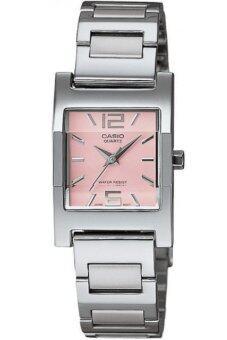 Casio Standard นาฬิกาข้อมือผู้หญิง สายสแตนเลส รุ่น LTP-1283D-4ADF - สีเงิน/ชมพู