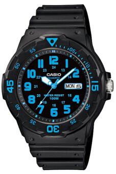 Casio Standard นาฬิกาข้อมือผู้ชาย สายเรซิ่น รุ่น MRW-200H-2BVDF - สีดำ/น้ำเงิน