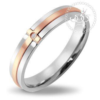 555jewelry แหวนสไตล์ Minimal ตัวเรือนเป็นสี Steel ตรงกลางทำลาย Cross ทำสี Pink Gold รุ่น MNC-R198-C