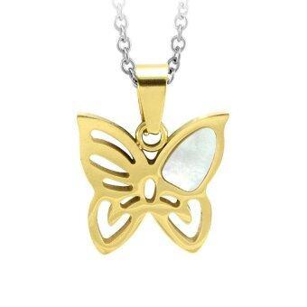 555jewelry Stainless Steel 316L Pendant with chain necklace จี้รูปผีเสื้อฉลุลายประดับเปลือกหอยมุก (Yellow Gold)
