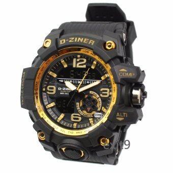 D-ZINER นาฬิกาข้อมือผู้ชาย สายซิลิโคน รุ่น DZ-8119 (ดำ)-ขอบทอง