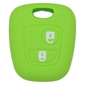 CV7300GN Silicone Cover Holder Fit for Citreon Peugeot 2 Button Remote Key (Green)