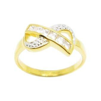 Tangems แหวนกากบาทเพชรสี่เหลี่ยมประดับจิกไข่ปลา รุ่น 2386 (ทอง/เพชร)