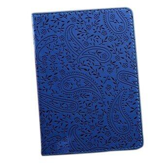 ปกพาสปอร์ตท่องเที่ยวลาเวนเดอร์ถือบัตรตั๋วหนังเทียมฝานเคสสีน้ำเงิน