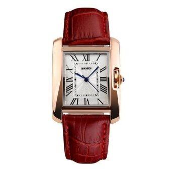 2559 ใหม่นาฬิกาผู้หญิง SKMEI แบรนด์นาฬิกาหรูลำลองกีฬาลูกหนังผู้ดีผลึกหญิงสาวแต่งตัว relojes มูเจอร์ 1085 นาฬิกาข้อมือ (สีแดง)