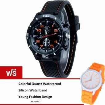 MEGA Sport Quartz Fashion F1 Racing Military Army Wristwatches หรูหรานาฬิกาข้อมือ สายหนัง กันน้ำ รุ่น MG0017 (Orange)(ฟรี Colorful Quartz Waterproof Silicon Strap Young Fashion Watch)(Black)