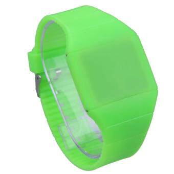 Harga Fashion Women Men Kids Candy Jelly Silicone Led Digital Sport Touch Watches(Green)