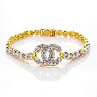MONO Jewelryสร้อยข้อมือเงิน 925 หุ้มทองคำ แท้ 24Kทองประดับเพชรคลอรัสเซียน้ำงาม รุ่น0975