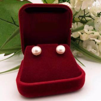 Pearl ต่างหูมุกแท้ แบบเม็ดเดี่ยว ขนาด10-12mm (สีขาวมุก)