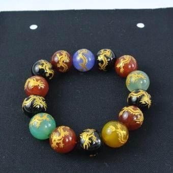 Pearl Jewelry กำไลหินแก้ชง ลายมังกรทอง สำหรับปีชง L02 ขนาด 12 มิล