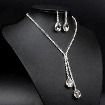Sanwood Splendid Wedding Bridal Silver Plated Drop Shape Crystal Rhinestone Necklace Earrings Jewelry Set for Women