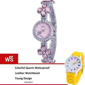 MEGA Lady Jewelry Luxury Fashion Bracelet Watch นาฬิกาข้อมือผู้หญิง สายสแตนเลส Kimio Design รุ่น K456 (Pink)(ฟรี Colorful Quartz Waterproof Silicon Strap Young Fashion Watch)(Pink)