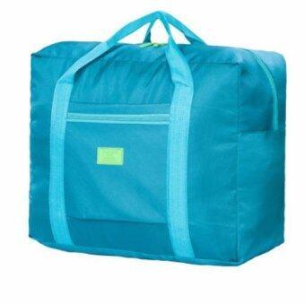 KOREAN TRAVELER กระเป๋าเดินทาง แบบพับได้ ล๊อคติดกระเป๋าเดินทาง ( สี อมฟ้าเขียว / Dark green )