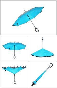 PD Sport ร่มหุบกลับด้านมือจับตัว C (Reverse Umbrella) สีฟ้า