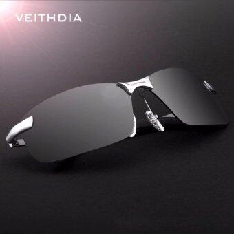 VEITHDIA 3043คนแว่นกันแดดโพลาไรซ์เงินกรอบสีเทาเลนส์