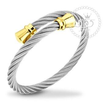 555jewelry กำไลข้อมือลาย Twisted rope สี ทอง รุ่น MNC-BG253-B1 - กำไลข้อมือเรียบ ดีไซน์ไขว้ สแตนเลสสตีล