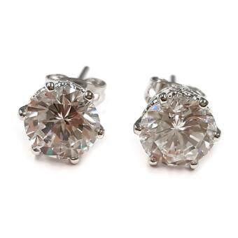 MONO Jewelryต่างหูเงิน925 เพชรรัสเซีย0.75กะรัต รุ่นMN236L