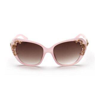 แว่นกันแดดหรูเรโทรใหม่แบรนด์ดีไซเนอร์แฟชั่นแว่นตากันแดดแว่นกันแดดหญิงสาวดอกไม้บะ H2 031...04 (สีชมพู)