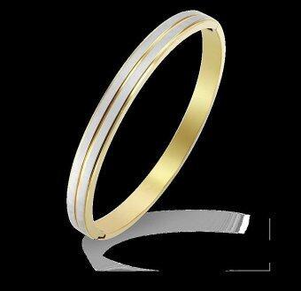 555jewelry กำไล สแตนเลสสตีล ดีไซน์เก๋คลาสสิค (สี ทอง/สตีล) (BG12)