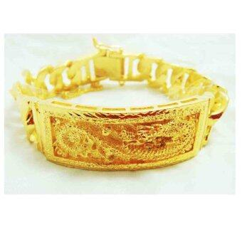 Thai Jewelry สร้อยข้อมือ เลส ลายมังกร ผู้ชาย งานทองไมครอน ชุบด้วยเศษทองคำแท้ 96.5 % น้ำหนัก 5 บาท ความยาว 7.5 นิ้ว