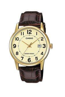 Casio Standard นาฬิกาข้อมือ สายหนัง รุ่น MTP-V002GL-9BUDF - สีทอง