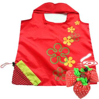 กระเป๋าผ้าสตรอว์เบอร์รี ( สีชมพู ) แพค 3 ชิ้น