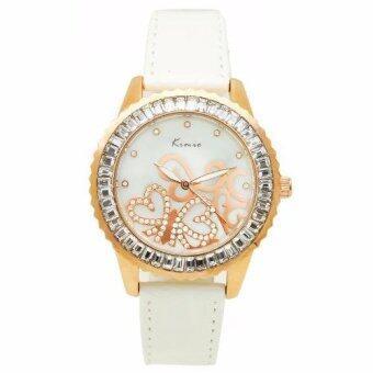 Kimio นาฬิกาข้อมือผู้หญิง สายหนัง รุ่น KM-519-WH-RGRG สีขาว