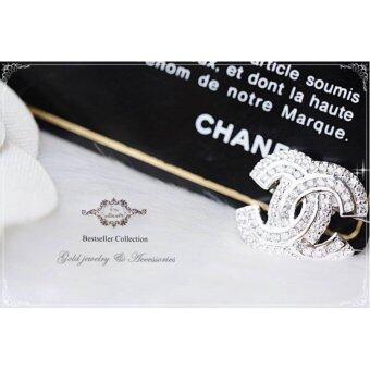 ManeeNopparut มณีณพรัช เข็มกลัด แชแนล ประดับเพชรงคำขาว หน้าเล็ก ทอ รุ่น BH010