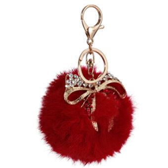 ลูกกระต่ายโตผมพวงกุญแจรถในกระเป๋าถือเครื่องประดับหูกระต่ายสีแดง