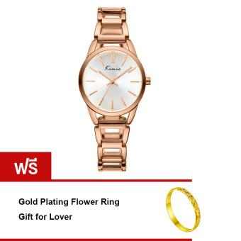 Kimio นาฬิกาข้อมือผู้หญิง สีโรสโกล์ด สายสแตนเลส รุ่น KW615M แถมฟรี Ring แหวน รุ่น R001