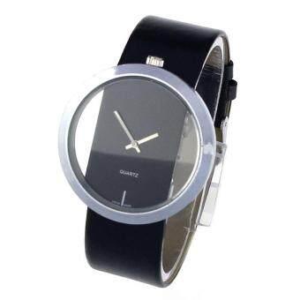 นาฬิกาข้อมือหน้าปัดใหญ่กระดูกกลวงใสคนรักนาฬิกาผู้หญิงสีดำ